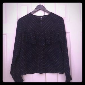 Navy and pink dotted ruffled blouse